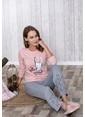 Lingabooms Tavşan Baskılı Kadın 2'li Pijama Takım  Pembe